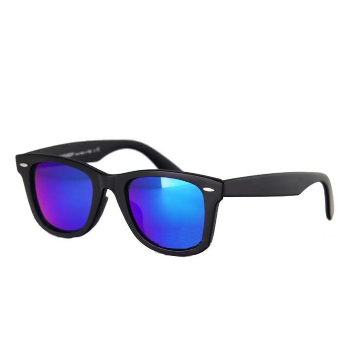 52mm Polarize Mat Siyah Çerçeve Mavi Lens Güneş Gözlüğü cam Lensler Çelik Menteşe Plaj Sunglass 3N