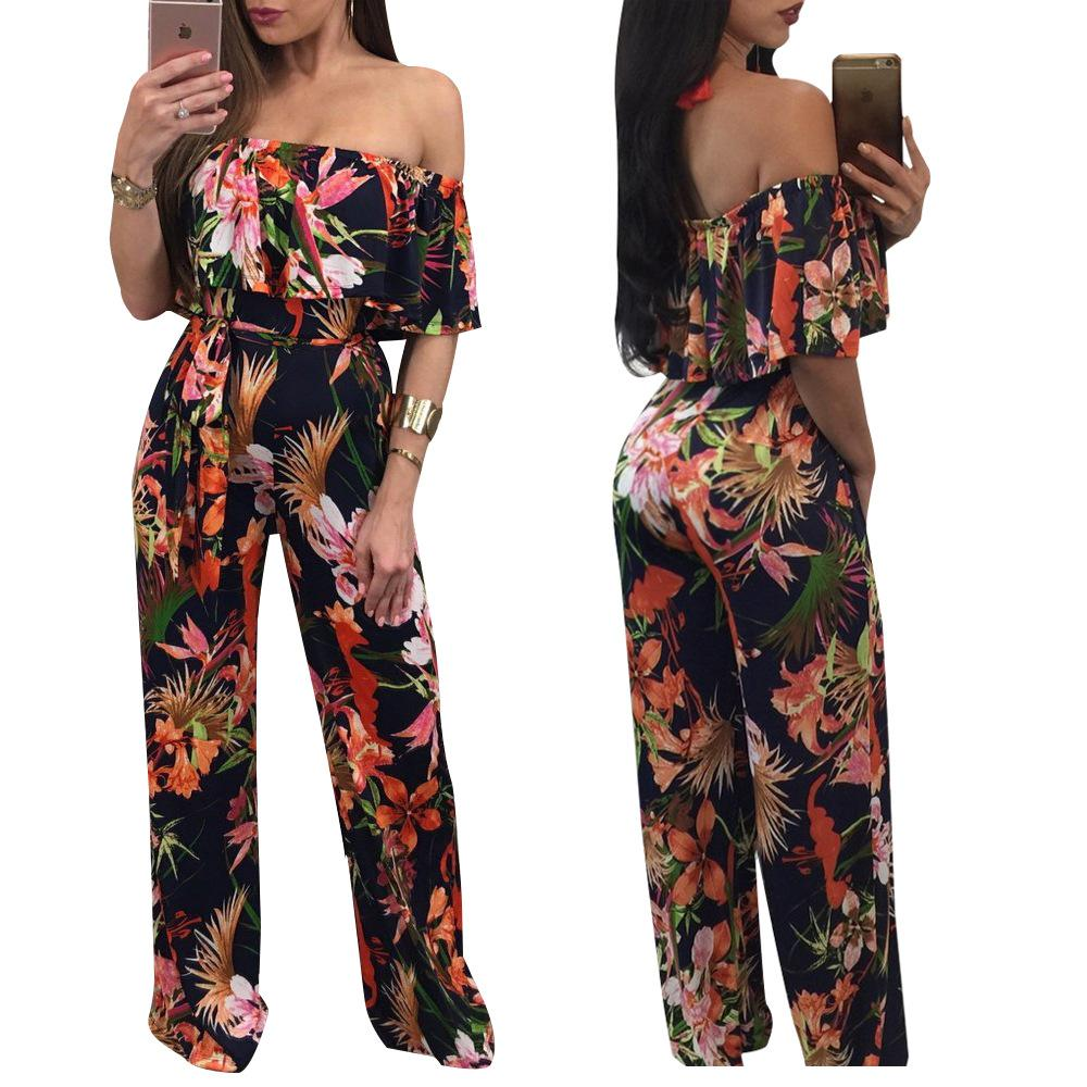 9eccef2a5a 2019 Slash Neck Floral Print Ruffle Wide Leg Coverall Women Plus Size Off  Shoulder Long Pant Sashes Jumpsuit 2XL Macacao Feminino From Chenhanyang