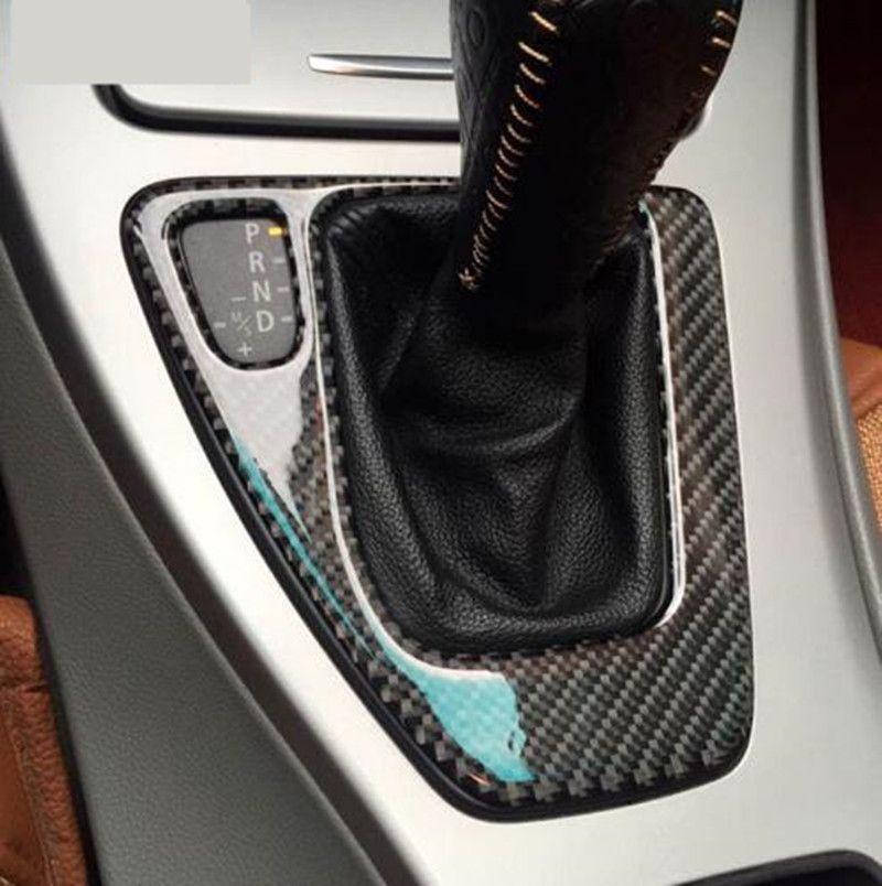Pour bmw e90 e92 Autocollant de fibre de carbone décoratif couverture bande de garniture pour le panneau de commande de vitesse de voiture Shift Panel 3 série 2005-2012 Car Styling