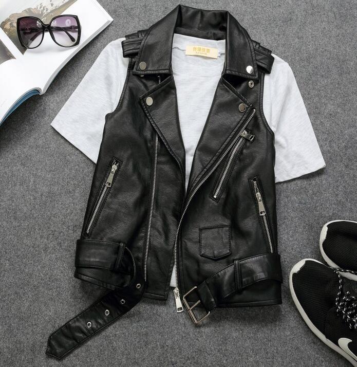 a7b1f2e168f456 2019 Women S Sleeveless Jacket PU Leather Lapel Collar Motorcycle Punk Vest  Waistcoat C199 From Edward03