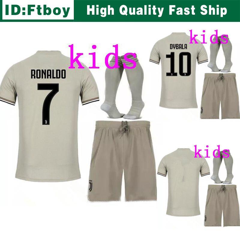 2d6a7000e 2018 2019 Juventus Soccer Jersey RONALDO DYBALA KIDS Soccer Shirt 18 19 Away  MARCHISIO MANDZUKIC HIGUAIN Boy Football Shirts Wholesale Online with ...
