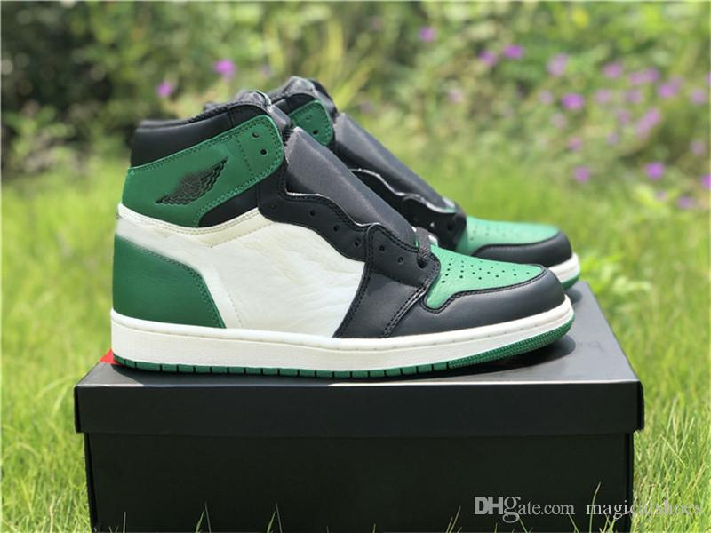 d5a8fdd5e5cf Authentic 2018 Release 1 High OG Pine Green Basketball Shoes Men Court  Purple Sneakers Sports Genuine Leather With Original Box 555088 302 Shoes  Mens Online ...