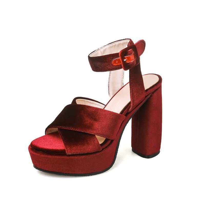 68a6671a948 Kcenid New Velvet Designer Shoes Woman Sandal High Heel Elegant Pumps Sexy  Peep Toe Ankle Strap Platform Sandals Plus Size 33 43 White Shoes Silver  Sandals ...