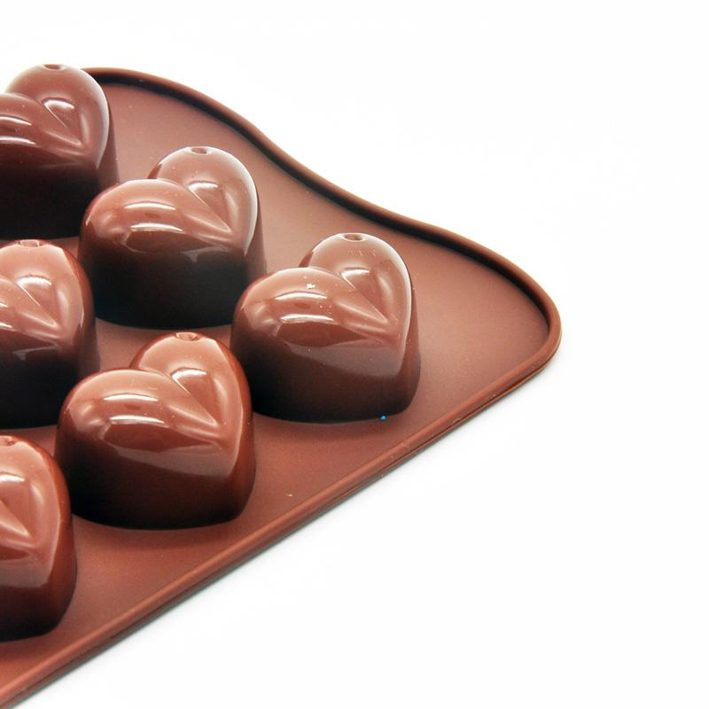 Non-stick Silicone Chocolate Molds Love Heart Shaped Jelly Ice Molds Cake Mould Bakeware Baking Tools