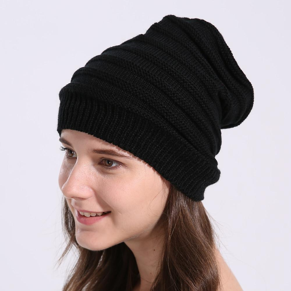 2018 Beanie Hat Women Crochet Knit Cap Winter Skullies Beanies Warm Caps  Female Knitted Stylish Hats Womens Winter Hats And Caps Black Baseball Cap  Knitted ... f6d6175d7