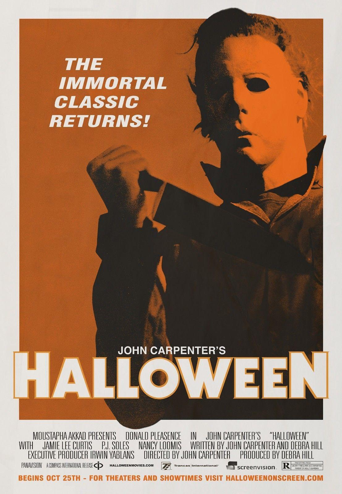 Halloween 1978 Movie Poster.Halloween 1978 Vintage Retro Decor Art Silk Poster 24x36inch 24x43inch