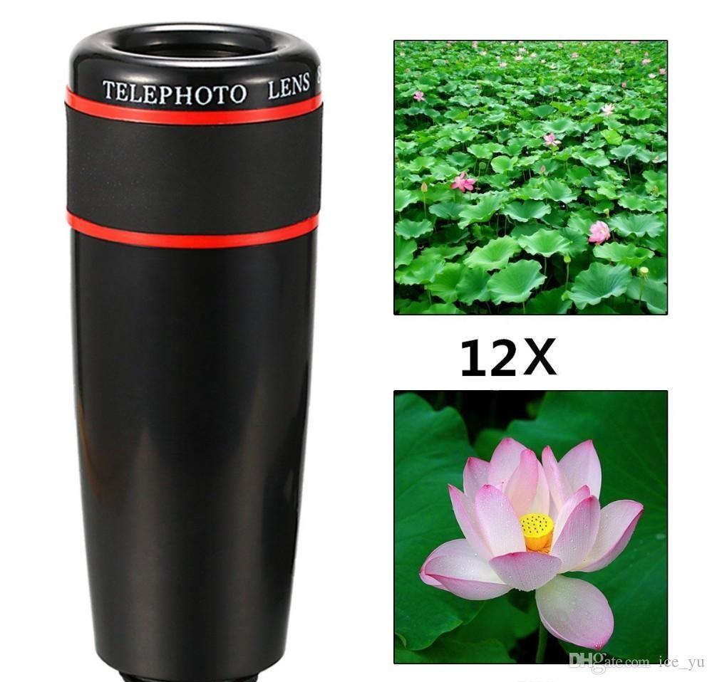 Lente del teléfono clip universal 12X Lente telefoto móvil Zoom óptico cámara del telescopio para iPhone Sumgung HTC xiaomi
