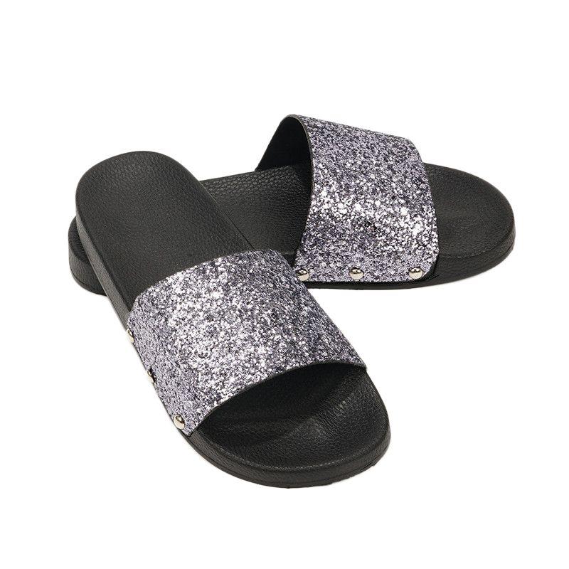 4ff469b91057d Senza Fretta Women Slippers Flip Flops Peep Toe Sandals Glitter ...