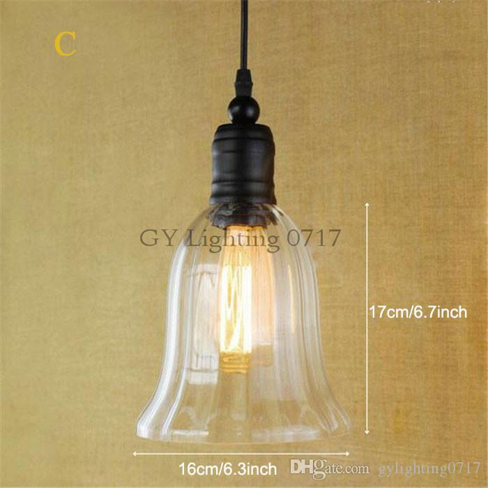 Retro Industrielle DIY Deckenleuchte Licht Glas Anhänger Beleuchtung Wohnkultur Leuchten Edison Birne E27 110 V-240 V industrielle hängende Beleuchtung