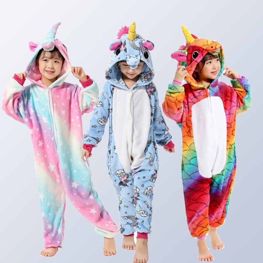 9520c643a0 Compre Unicornio Niños Niñas Franela Animal Cosplay Pijamas Onesies Invierno  Niños Pijamas Puntada Niños Con Capucha Ropa De Dormir Para 4 6 8 10 12 Y  ...