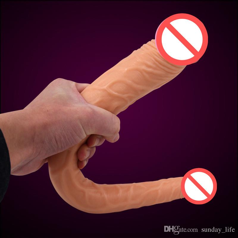 !double dong Lesbian sex toys for women double dildos gay long huge dildo realistic penis 3 size Optional double dildos