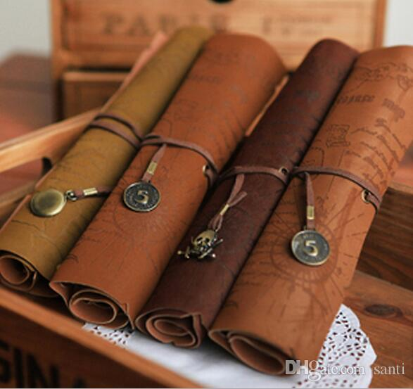 New Vintage Retro Treasure Map Pencil Cases Luxury Roll Leather PU Pen Bag Pouch For Stationery School Supplies Make Up Cosmetic Bag