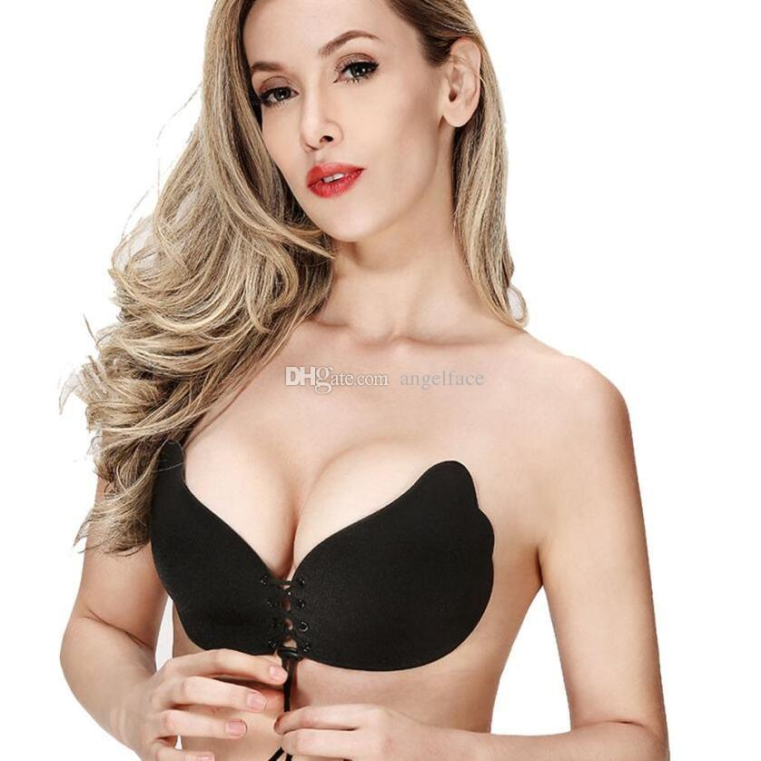 a9ac0b5ab 2019 Strapless Women Bra Self Adhesive Sticky Wire Free Butterfly Invisible  Bra Silicone Wedding Underwear Sexy Lingerie Fly Bra A B C D CUP From  Angelface