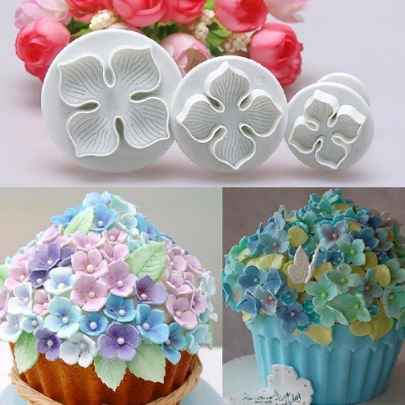 Grosshandel 3 Teile Satz Kuchen Blumenform Hortensien Fondant