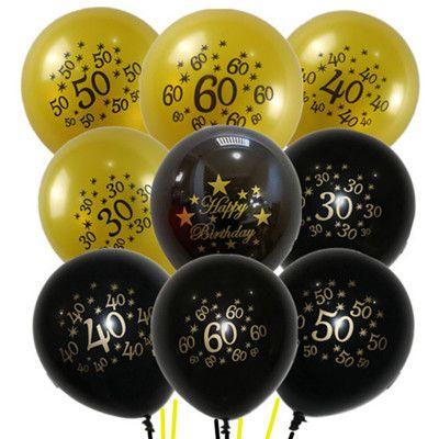10inch Happy Birthday Balloon 30 40 50 60 Anniversary Latex Balloons Wedding Decor Supplies 50th Party