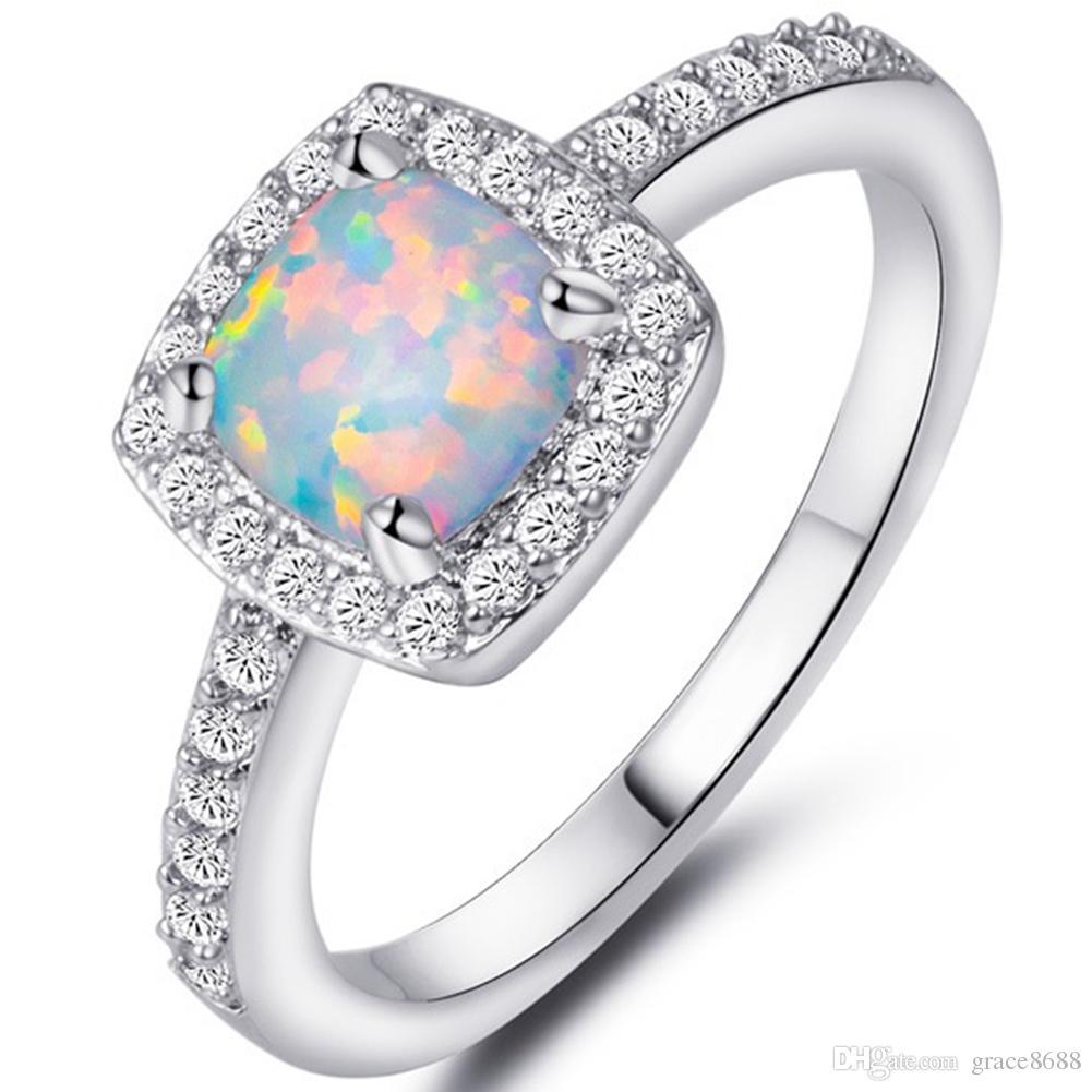 2018 925 Sterling Silver Size 4 12 Princess Cut Australian Fire Opal