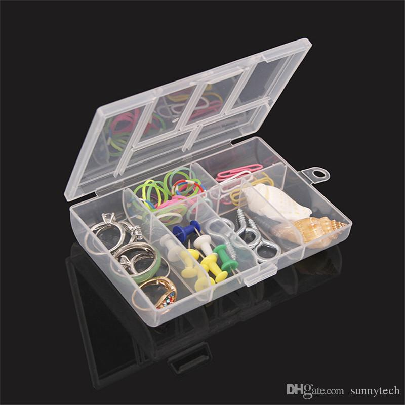 Storage Case Box Holder Container Pills Jewelry Nail Art Tips 6 Grids Makeup organizer jewelry box Clear plastic box LZ1749