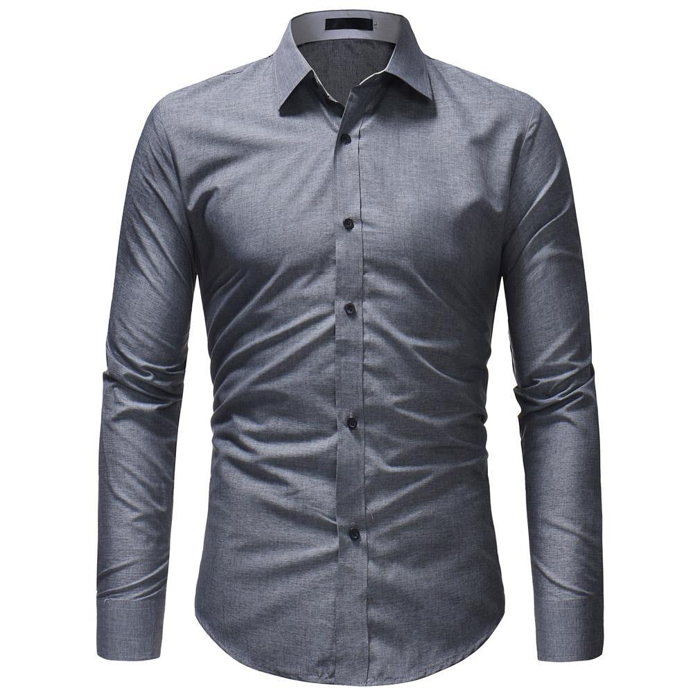 new style be3b5 34a9a Maglietta maniche lunghe maniche lunghe uomo d affari di marca 2018 Top  magliette semplici abiti da uomo di colore solido tinta unita XXXL