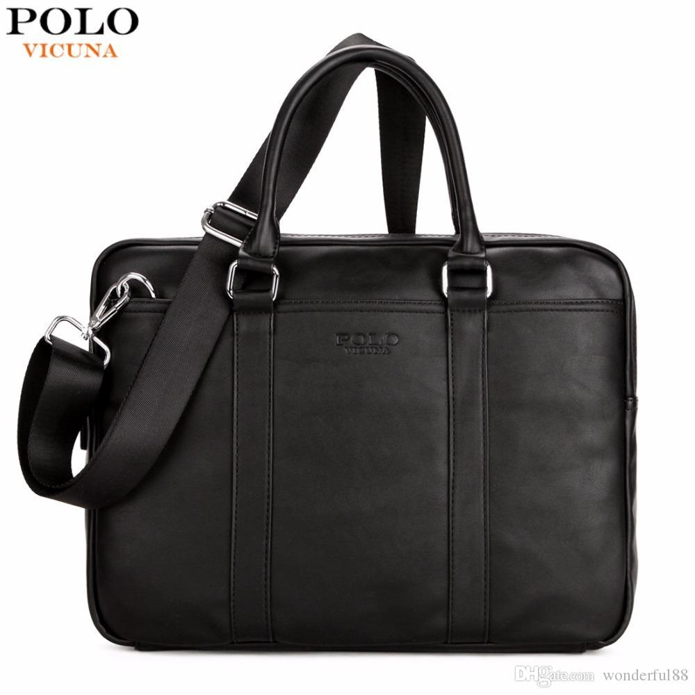 VICUNA POLO Famous Brand Fashion Casual Business Men Leather Briefcase Bag  Trendy Solid Leather Mens Handbag Simple Men Bag New Leather Holdall Men  Bags ... 0f7876f49ca7b