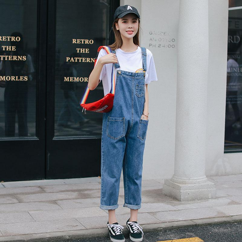 032c845f7da5 2019 Hot Sale Women Jumpsuit Denim Overall Spring Autumn Black Blue Strap  Adjusted Pockets Romper Cute Denim Jeans Jumpsuit Pants From Yigu003