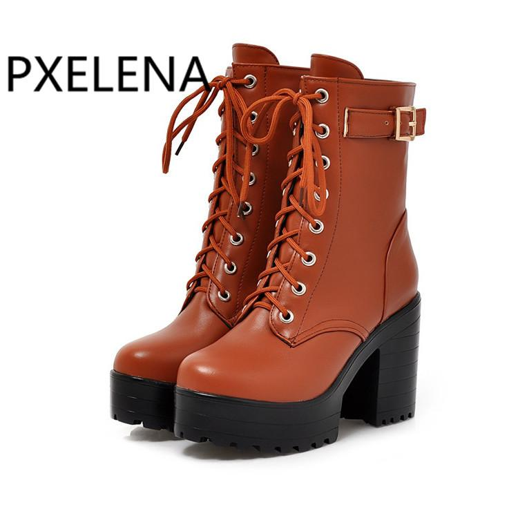 a80e242285a PXELENA Retro Chunky Block High Heel Riding Knight Martin Boots Women Lace  Up Buckle Platform Combat Army Motorcycle Boots Shoes Wide Calf Boots Ariat  Boots ...