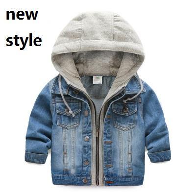 2016 çocuk Ceket Denim Boys Kapşonlu Jean Ceketler Kız Çocuk giyim bebek ceket Casual kabanlar Yeni Marka Fabrika