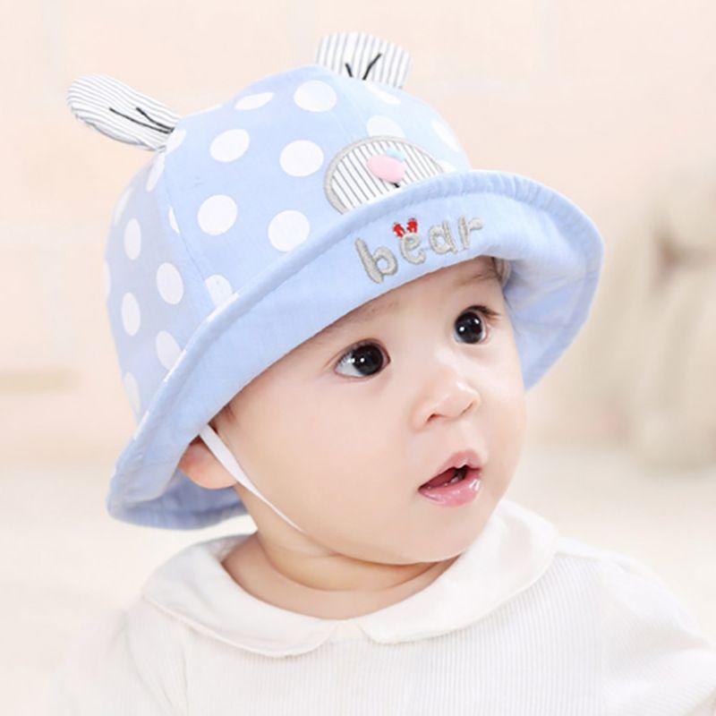 cute baby Ear Hat unisex Mesh Fisherman Caps infant dot heart bear hats summer Sun Protective cap