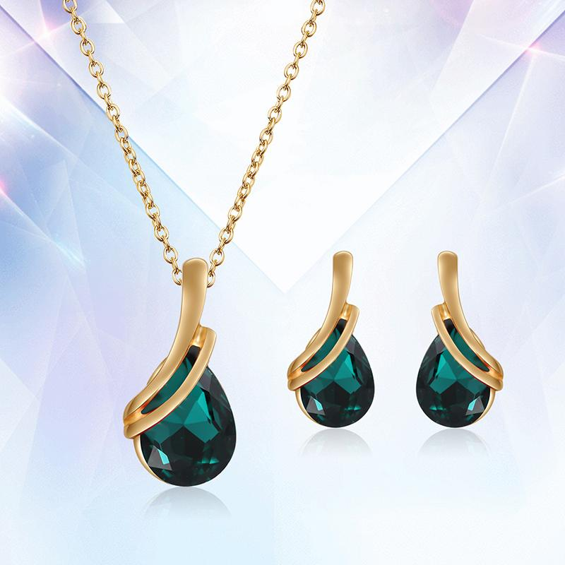 80aac76357a6 Compre Gota De Agua Juegos De Joyas De Cristal Plateado Para Las Mujeres Conjunto  De Joyería De Piedras Verdes Azules Collar Africano Pendientes Conjunto De  ...