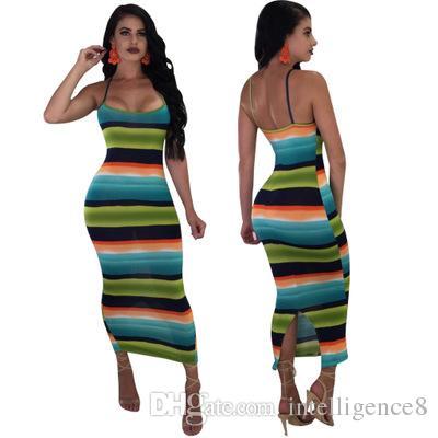 Women Sexy Striped Printed Long Slip Dress Casual High Waist Bodycon ... cc2ae9415
