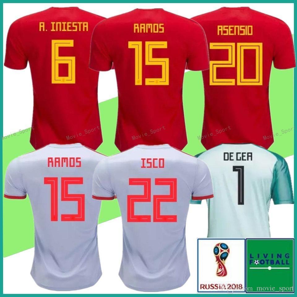 innovative design 26711 82ed9 2018 world cup Spain Jerseys home Away Soccer Jersey Spain home soccer  shirt 18 19 ISCO #22 ASENSIO #20 MORATA #7 PIQUE Football uniforms