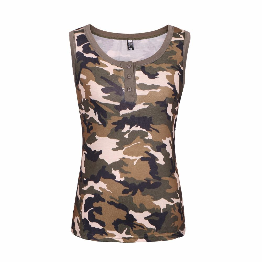 911c31d997d02 New Summer Women's Army Green Camo T-Shirts Female sleeveless Vest sexy  Camouflage t shirt Casual Tee Tops Plus Size