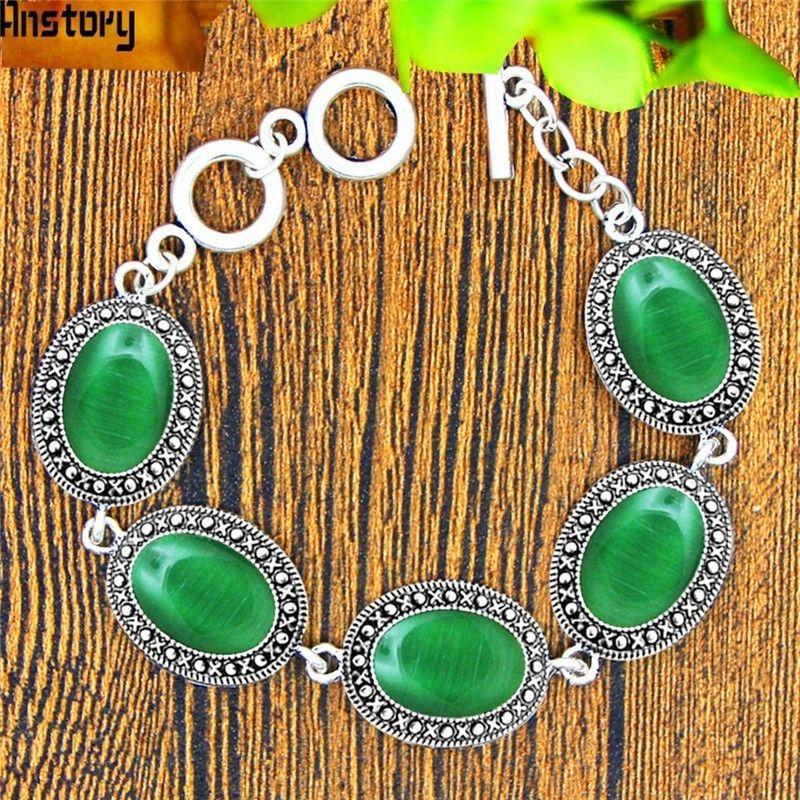 0c464868ef54 Compre es Oval Opal Pulsera Para Mujeres Vintage Look Antiguo Plateado  Plata Brazalete De Joyería De Moda Tb333 A  36.0 Del Zerpa