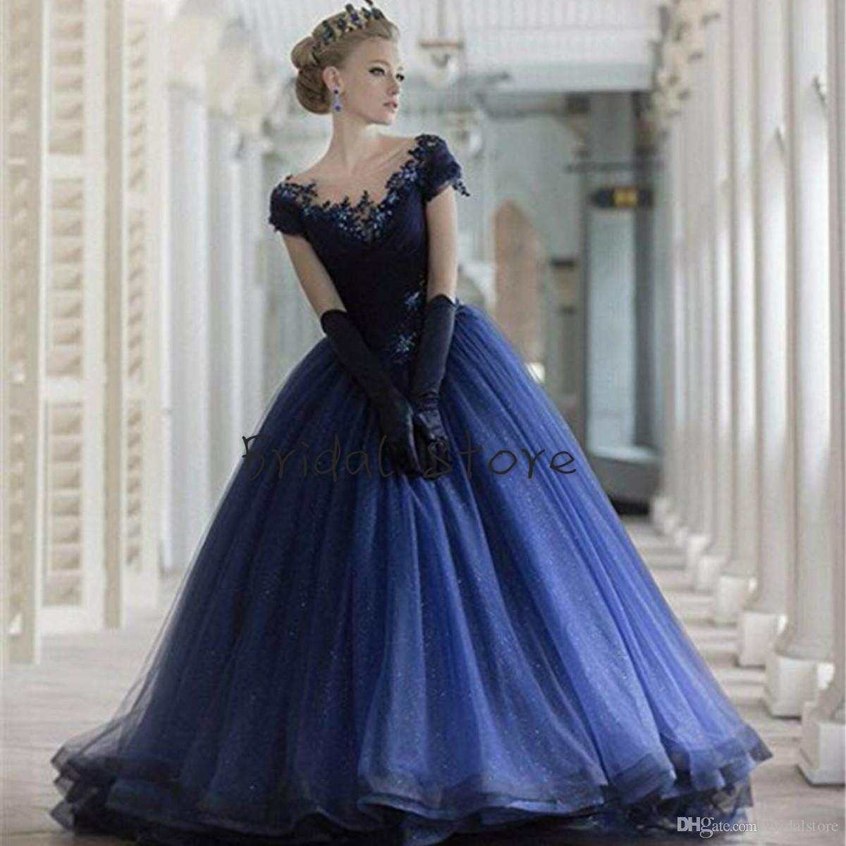 70a331fc76 Compre Azul Marino Puffy Vestidos 15 Años De Organza Con Mangas Con Cuentas  Apliques De Quinceañera Vestidos Para Niñas Princesa Vestidos De Fiesta  Formales ...