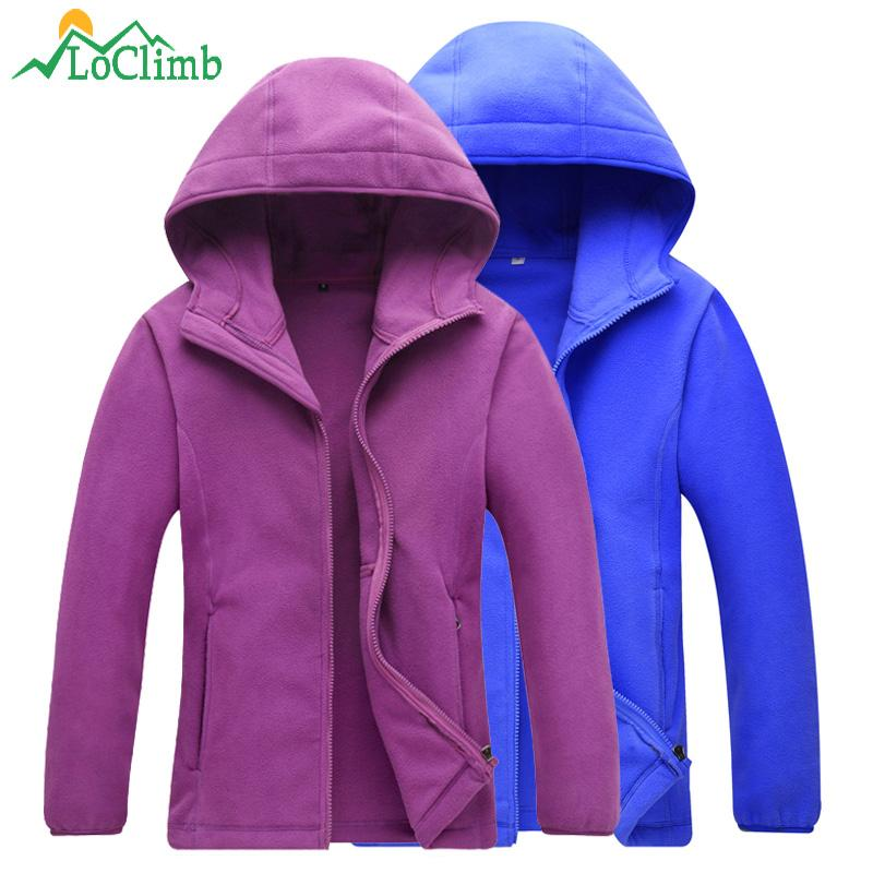 LoClimb Outdoor Camping Hiking Jacket Men Women Fleece Coat Women's Windbreaker Climbing Trekking Cycling Ski Hood Jackets AM341