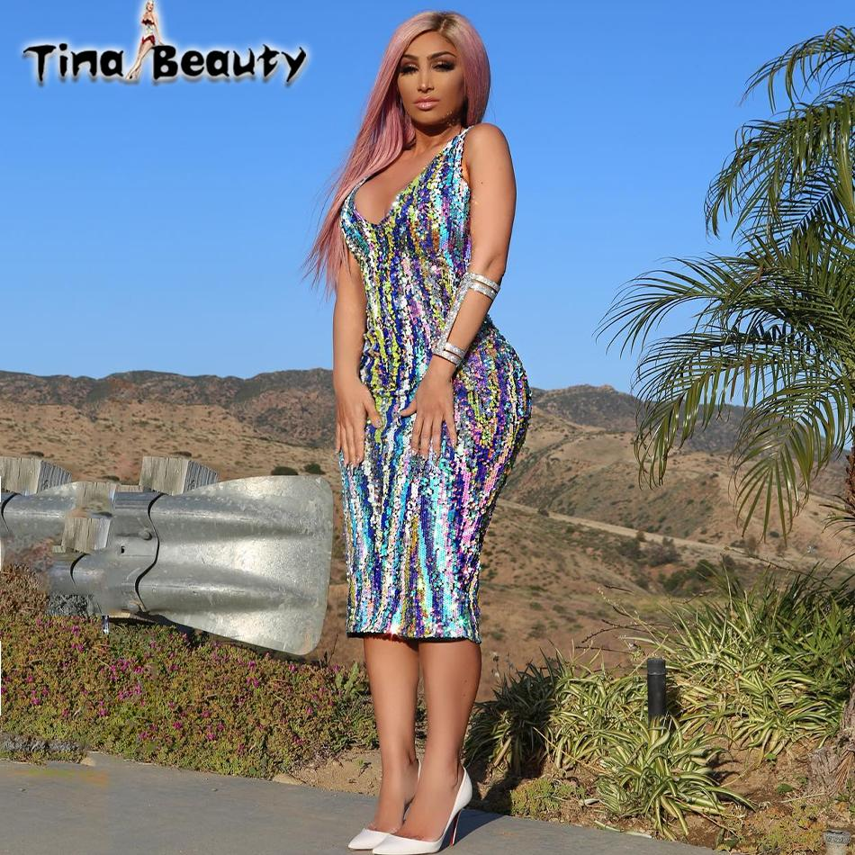 88ef4135d48 2019 Tina Beauty Celebrity Angel Brinks Dress Women Rainbow Sequined Midi Dresses  Sexy Shimmer Sleeveless V Neck Split Bodycon Dress From Jst2015