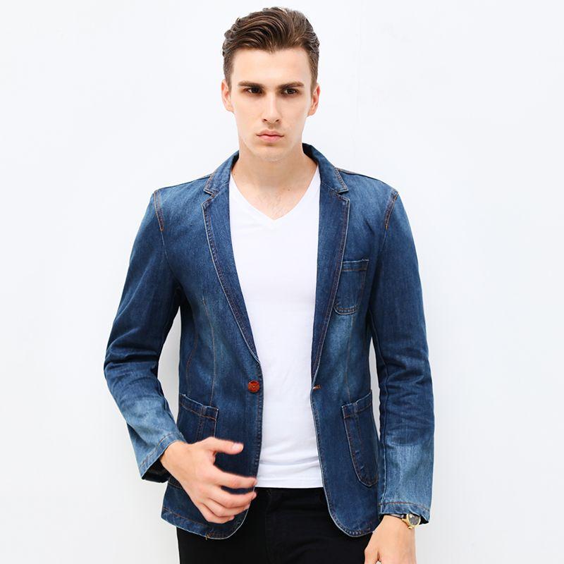 b0d9c026e1032 Acheter 2018 New Spring Mode Marque Hommes Blazer Hommes Tendance Jeans  Costumes Costume Décontracté Jean Veste Hommes Slim Fit Denim Veste Costume  De ...