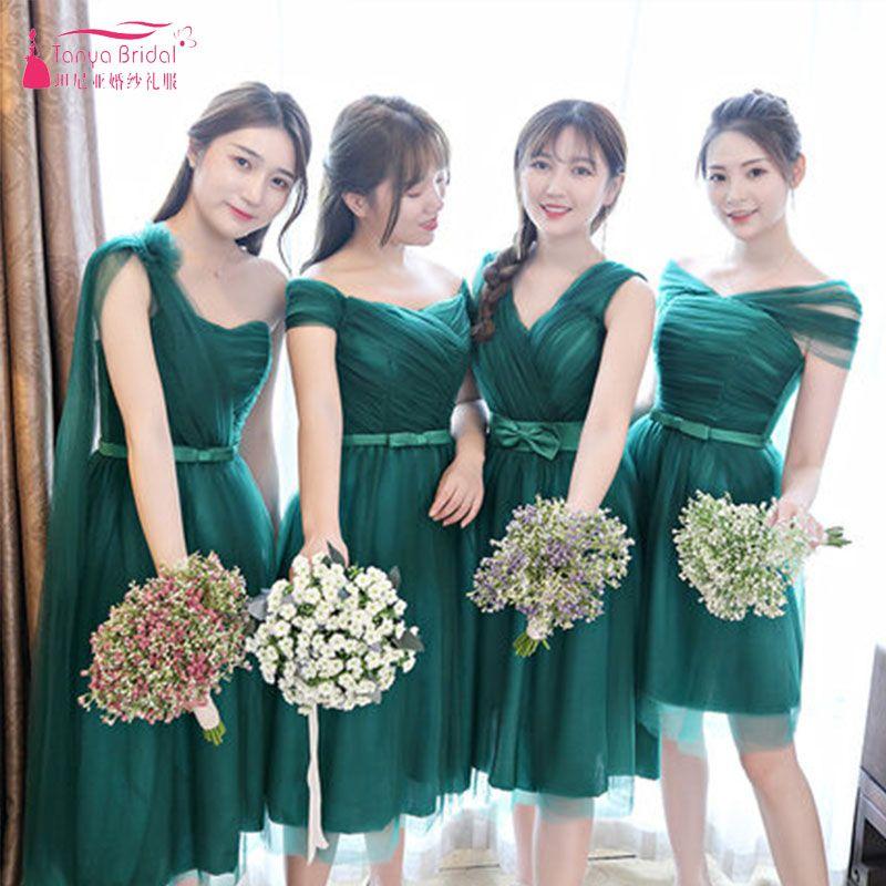 ff74d53804 Compre Vestidos De Dama De Honor Cortos Verde Oscuro 4 Estilos Mujeres  Elegantes Vestidos Cortos Formales Vestidos De Fiesta De Niña Vestidos De  Fiesta ...