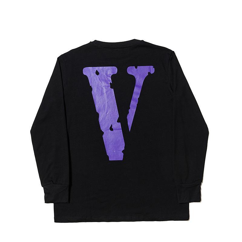 Best Version Vlone Classic Logo Printed Big V On Back Women Men Long Sleeve t shirt Hiphop Vlone sweatshirt t shirts tee
