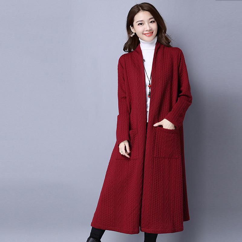 9fdd957fb6a95 2018 Autumn And Winter New Sweater Women Plus Size Thickening Slim  Long-sleeved Jacket In The Long Section Cardigan Large Online with   53.35 Piece on ...