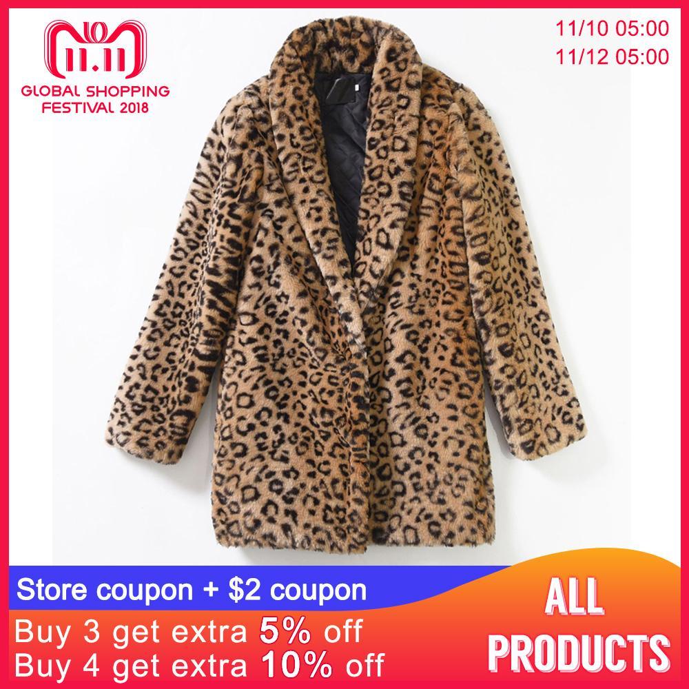 3d2962c25 4xl Leopard Print Plus Size Coats Female Warm Soft Turn Down Collar Slim Faux  Fur Jacket Winer Fashion Artificial Fur Coats Faux Fur Cheap Faux Fur 4xl  ...