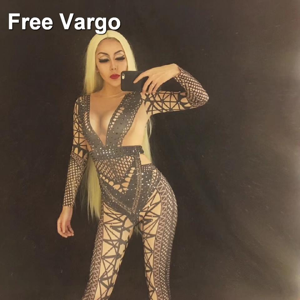 21bc8627cc Women's Fashion Black Jumpsuit Costume One-piece Nightclub Dance Bandage  Printed Outfit Party Stage Celebrate Wear