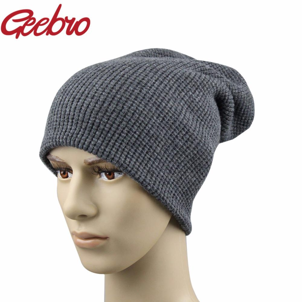 2019 Geebro Authentic Men S Winter Hats Cashmere Warm Knitted Dad ... 2f1b318d2b0
