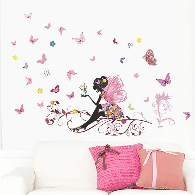 flower fairy pink colorful tree branch butterfly home decal wall