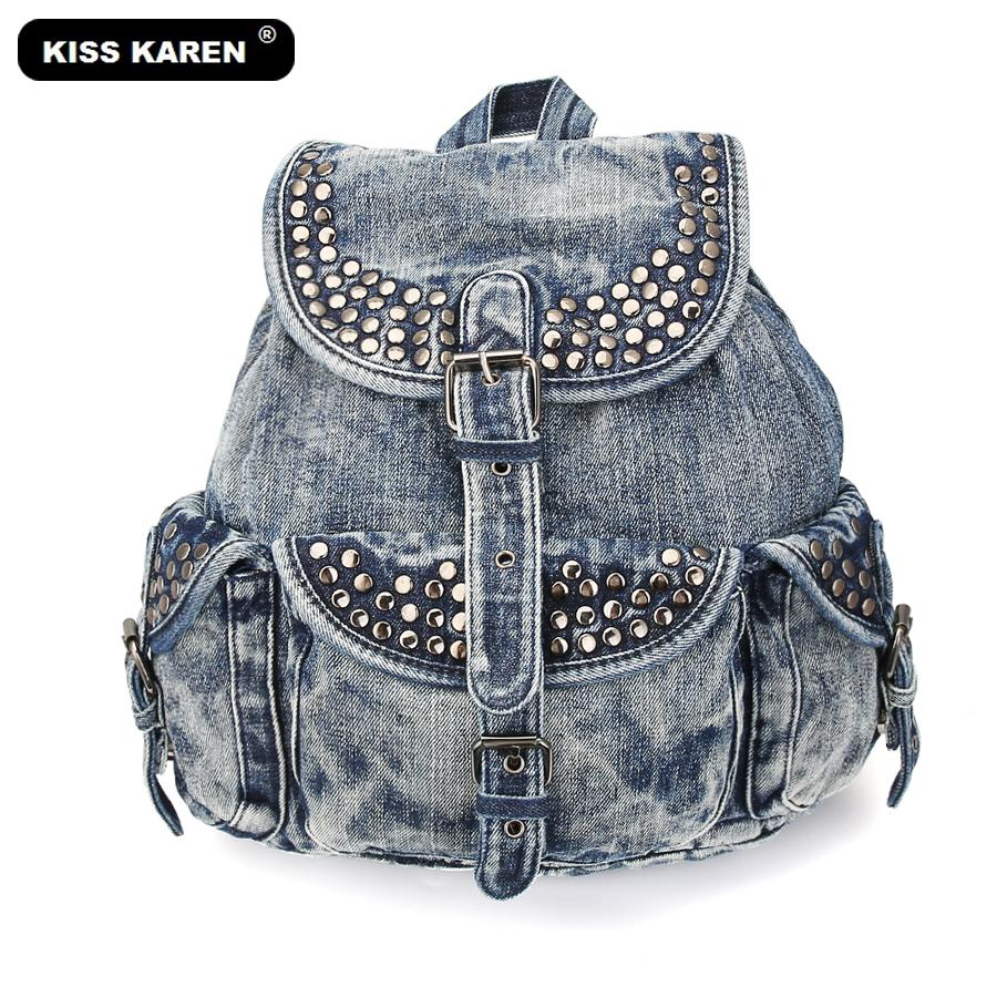 0dec959c63 KISS KAREN Fashion Denim Backpack Vintage Studs Women Backpacks Jeans Women  Bag Casual Daypacks Travel Ladies Backpack Bags Swissgear Backpack Swiss ...