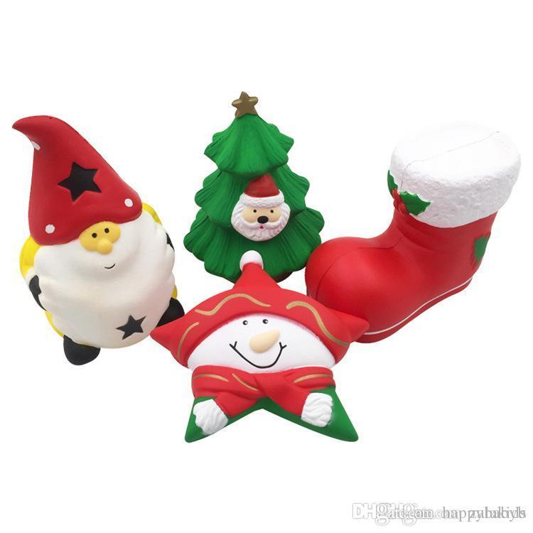 Cartoon Kawaii Christmas Snowman Tree Christmas Boot Squishies Santa ...