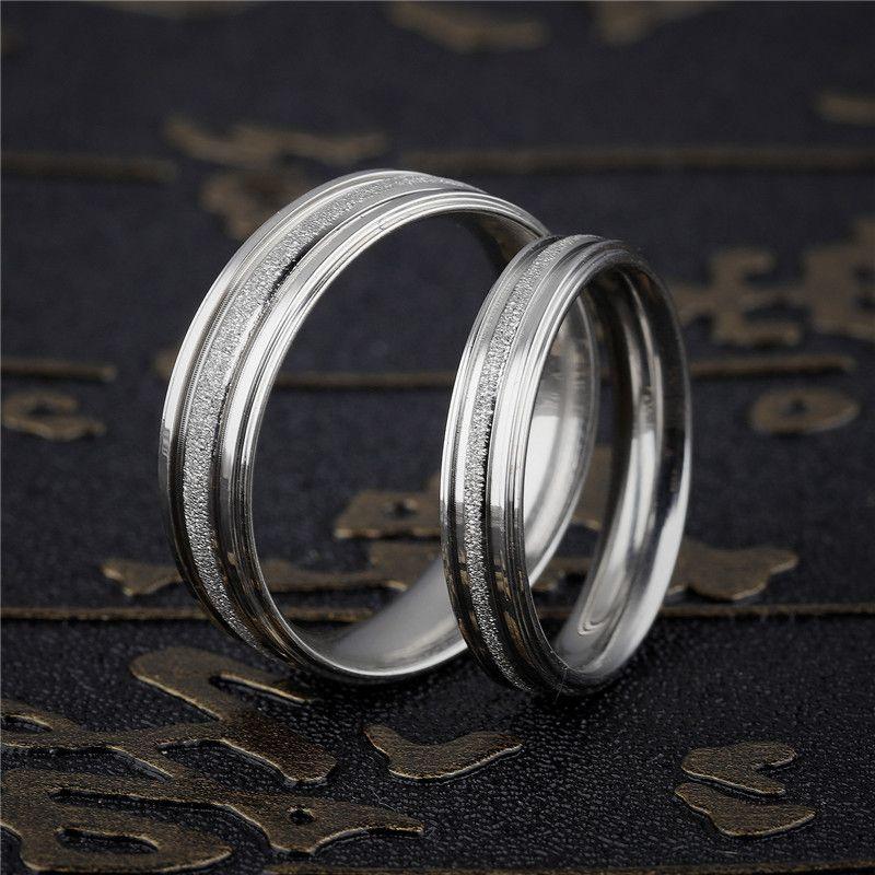 Erkekler Kadınlar Moda Takı Yüksek Kalite Parmak Halkası Klasik Basit OR094 için Gümüş-Renkli Paslanmaz Çelik Çift Yüzük