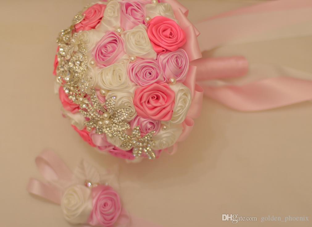 Custom wedding bridal DIY brooch rose pearl Handmade Brides bridesmaid holding flowers