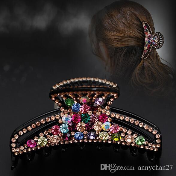Jóias de cabelo grandes braçadeiras luxo cristal de cristal de cristal de luxo garra de cabelo grande dia dos namorados valentine grace jewerly dhl