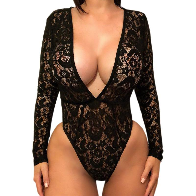 52535bcae0 2019 Autumn Bodysuit Long Sleeve Women White Black Lace Body Tops Slim Sexy  Club Plunging V Neck Rompers Overall Jumpsuit Party M0034 From Liasheng02,  ...