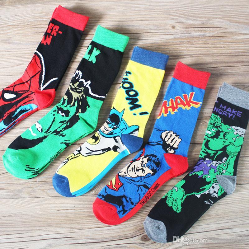 803f017b80c7 2019 The Superhero Socks 5 Style Cotton Fashion Casual Crew Socks Deadpool  Punisher Print Letter For Men And Boy Stockings From Steven0331, $2.63 |  DHgate.